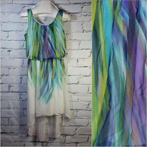 Asymmetrical Chiffon Dress Sleeveless Watercolor